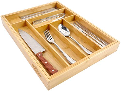 Kitchen Dynamic Gear Bamboo Expandable Drawer Organizer, Premium Cutlery and Utensil Tray, 100% Pure Bamboo, Adjustable Kitchen… silverware organizers