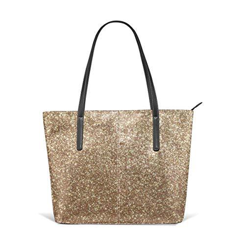 Copper Rose Gold Metallic Glitter Leather Tote Large Purse Shoulder Bag Portable Storage HandBags Convenient Shoppers Tote