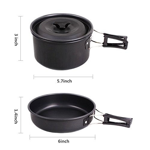 Camping Cookware Mess Kit Outdoor Cooking Equipment Cookset Camp Pot Pan Bowls Free Folding Utensil Set, Mess Bag | Lightweight, Compact, & Durable for Backpacking, Hiking and Picnic