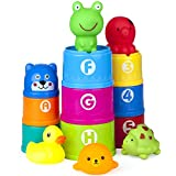 Vstarner Stacking Cups Baby Bath Toys Educational Toddler Toys Baby Toys Rubber Animals BPA Free Toys for 0 1 2 3 4-5 Year Old Girls Boys (Dog_cups)