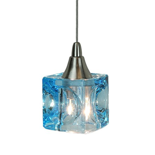 Direct-Lighting DPNL-35-6-BLUE Mini Low Voltage Pendant Light, Cube, Blue Glass (Mini Lights Colored Pendant)