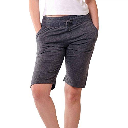 Stylish Casual Womens Bermuda Shorts-Soft Stretch, Elastic Waist, Sleep Shorts, Melange, Large