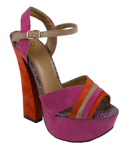 Monica! Da Deliziosi Sandali Sexy Con Cinturini Incrociati Alla Caviglia E Cinturino Alla Caviglia Con Tacchi Chunky Colorblock Color Viola