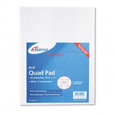 Ampad 22005 Quadrille Pads, 8 Squares/Inch, 8 1/2 x 11, White, 50 (Ampad Quadrille Pad)