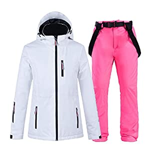PEIN Men/Woman/Ski Suits/Jacket And Pants/Windproof And Waterproof Outdoor Clothes/Winter Sports/white Top/Pink Pants/Couple Suit,ski suits-M