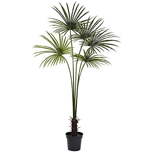 Nearly Natural Fan Palm Indoor/Outdoor UV Resistant Tree, 7' by Nearly Natural