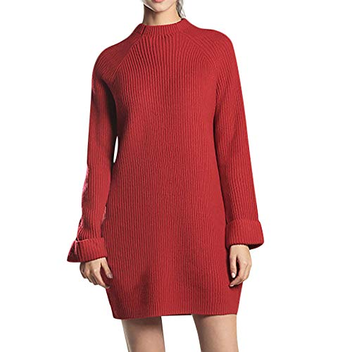 Hunzed women sweater Comfortable Casual Long Sleeve Sweater Dress (Red, X-Large)