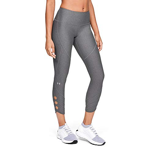 Under Armour Women's Heatgear Fashion Ankle Crop 9/1, Charcoal Light Heath (020)/Metallic Silver, Medium