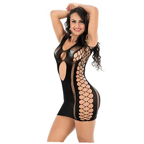 ManxiVoo Sexy Lingerie Bow Sling Lace Nightwear Sleepwear Bodysuit Suspender Temptation Underwear (Type-D- Black) ()