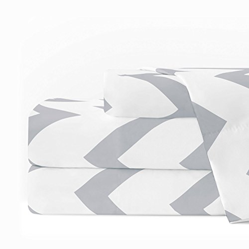 Gray White Chevron Pattern (Egyptian Luxury 1600 Series Hotel Collection Chevron Pattern Bed Sheet Set - Deep Pockets, Wrinkle and Fade Resistant, Hypoallergenic Sheet and Pillowcase Set - Twin - White/Light Gray)