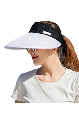 Women's Visors Colorblock Wide Brim Adjustable Summer Hat Caps White One Size