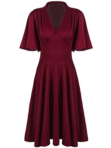 Vijiv Womens Vintage 1920s Clothing V Neck Rockabilly Swing Evening Party Cocktail Dress with Sleeves Roaring 20s