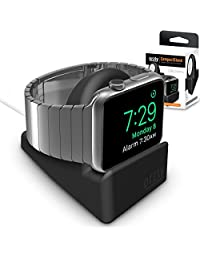 Orzly® Compact Stand for Apple Watch - Nightstand Mode Compatible - BLACK Support Stand with integrated Cable Management Slot (38mm & 42mm compatible)