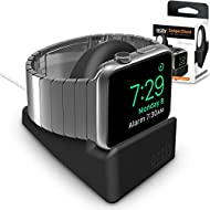 Orzly® Night-Stand pour Apple Watch NOIR - Station de Charge mode Nightstand - Station d'accueil - Support Bureau Compact HQ Compatible Apple Watch 38 mm / Apple Watch 42 mm - Avec fente pour dissimuler votre câble de recharge