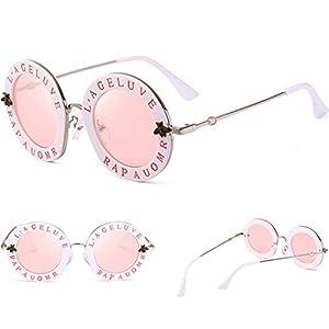 Fashion Women Sunglasses,MintuVintage Little Bee Letters Round Circle Eyewear (D)