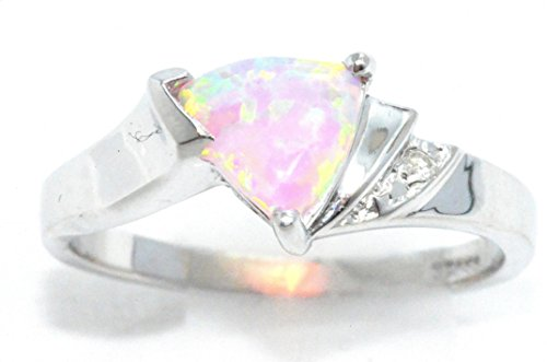 Simulated Pink Opal & Diamond Trillion Ring .925 Sterling Silver Rhodium Finish
