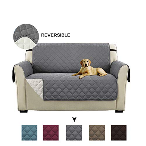Turquoize Reversible Sofa Furniture Protector Rich Microfiber Elegante Luxurious with Straps for Pets (Love Seat - Gray/Beige, 75
