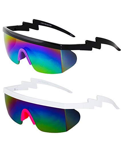 (Semi Rimless Goggle Style Retro Rainbow Mirrored Lens ZigZag Sunglasses (2 PACK: Rainbow/Purple and Rainbow/Pink))