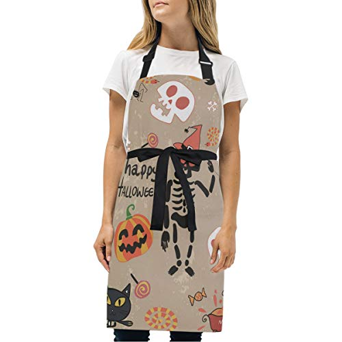 Fuiyi Miyi Aprons Happy Halloween Clip Art Cartoon Set Vector Image Kitchen Aprons for Cooking, Baking, Crafting, Work Shop, BBQ-Aqua Professional bib Apron Suitable for Female Male Adults ()