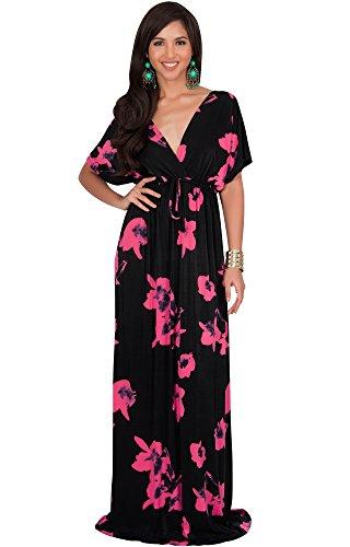 Floral Print Kimono Dress (KOH KOH Womens Long Kimono Short Sleeve Floral Summer V-Neck Flowy Sundress Sundresses Print Cute Casual Evening Kaftan Sun Gown Gowns Maxi Dress Dresses, Hot Fuschia Pink M 8-10)