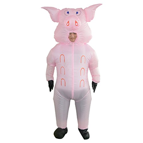 Funny Homemade Halloween Costumes For Guys (LB Inflatable Halloween Costume,Lovely Pig Fancy Dress for Adult Kids Halloween Party Game)