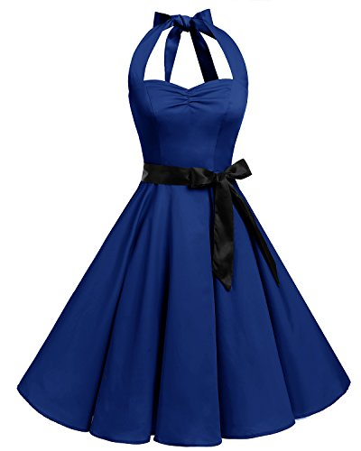 Bbonlinedress 1950s Halter Vintage Retro Rockabilly Gown Cocktail Party Dress Royal Blue 3XL