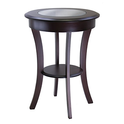 Winsome Wood Cassie Accent Table with Glass Top, Cappuccino (Contemporary Wood Finish End Table)