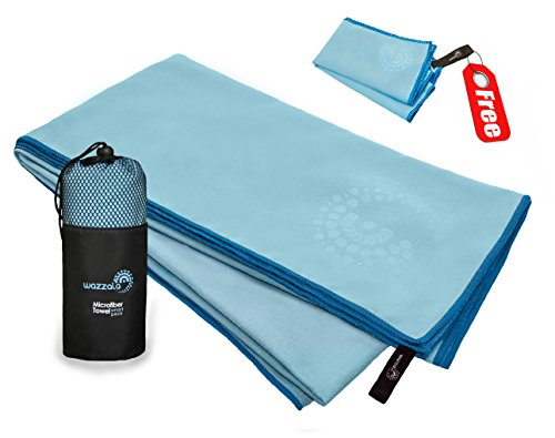 Premium Microfiber Towel for Travel, Sports and Outdoors. Includes Bonus Small Hand/Face Towel and Mesh BAG. Antibacterial, Quick-dry, Compact. With Hook. XL Large