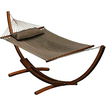 algoma 67104914sp wooden arc frame hammock and pillow combo 12 feet natural caribbean