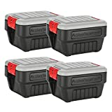 Rubbermaid ActionPacker Lockable Storage Box, 35 Gal, Grey and Black, Outdoor, Industrial, Rugged