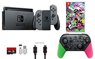 Nintendo Switch Bundle (7 items): 32GB Console Gray Joy-con, Nintendo Switch Pro Controller Splatoon 2 Edition, Game Disc Splatoon 2, 128GB Micro SD Card, Type C Cable, HDMI Cable Wall Charger