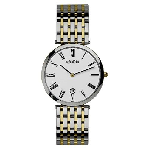 Michel Herbelin Men's Epsilon Classic 36mm Two Tone Steel Bracelet Steel Case Quartz Watch 414/BT01