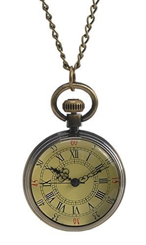 Souarts Antique Bronze Color Round Pocket Watch with Roman Numerals Dial