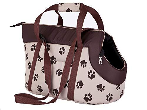 Bolsa de Transporte para Perros y Gatos, Talla 1, Color Beige con Estampado de Patas