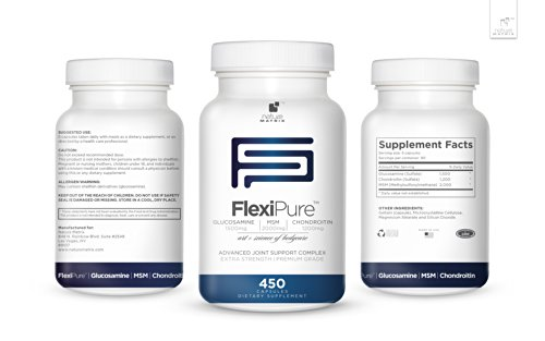 TRIPLE STRENGTH GLUCOSAMINE Sulfate 1500 mg - CHONDROITIN Sulfate 1200 mg - MSM 2000 mg PER SERVING- 450 Capsules Per Bottle- FlexiPure Advanced Joint Support Helps With ARTHRITIS PAIN, Supports HEALTHY And FLEXIBLE Joints and Connective Tissue. by Nature (Image #5)
