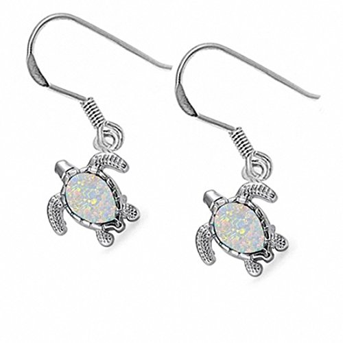 Dangling Fish Hook Turtle Earrings Created White Opal 925 Sterling Silver