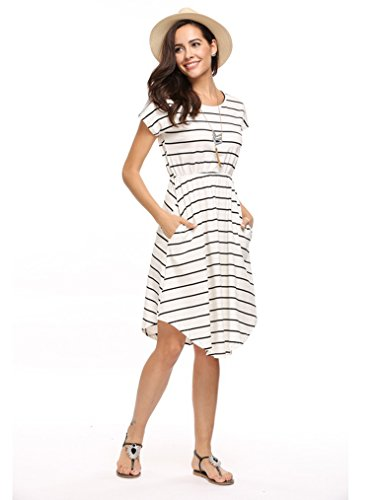 Qearal Women Summer Short Sleeve Striped Loose Swing T-Shirt Midi Dress with Pockets (Ivory, S)