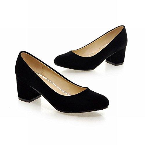 Carolbar Women's Concise Charm Mid Heel Suede Fashion Court Shoes Black Jg7H31Dr