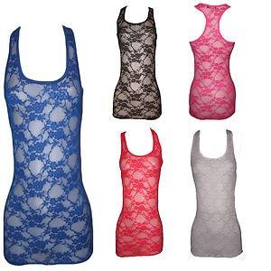7031654532977 Clothes4all Tunique Débardeur long pour femme Imprimé fleurs Dentelle Fille  T-shirt Robe dos nageur