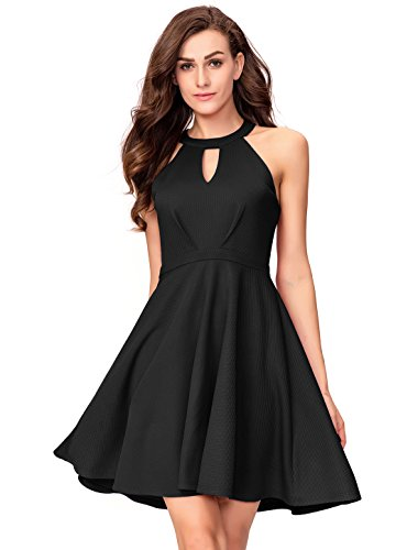 InsNova Women's Halter Skater A-Line Cocktail Dress Keyhole Neck Backless