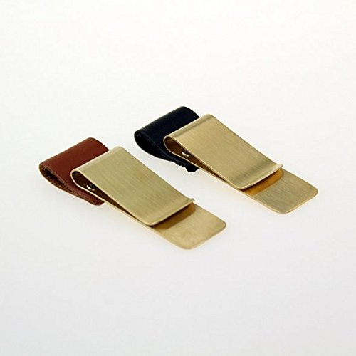 Chris-Wang 2Pack (Black + Brown) Golden Brass Pen Clip Leather Fountain Pen Holder Loop Organizer for Traveler Notebooks, Journals, Planners, Calendar and More