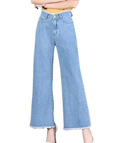 Pantalones Mezclilla Pierna Clair Mujeres Alta Ancha Mujer De Botones Casuales Bleu Sueltos Vaqueros Cintura Bolsillos Con rCtxOqr1