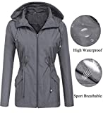 Rain Jacket,Womens Ladies Waterproof Outwear with Hood Mesh Lining Raincoat Short