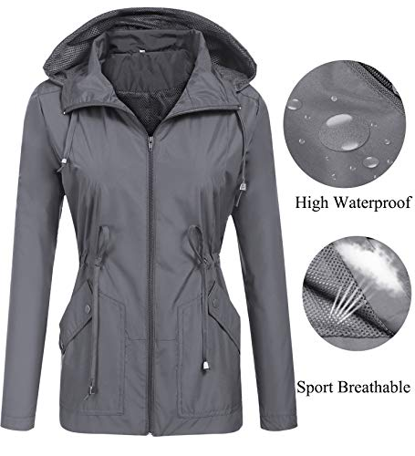 Rain Jacket,Womens Ladies Waterproof Outwear with Hood Mesh Lining Raincoat Short