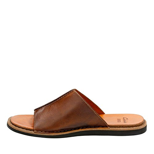 Clarks Mens Lynton Slide Tan Leer