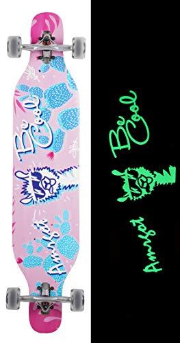 Amrgot Night Light Longborads Skateboards 42 inches Complete Drop Down Through Deck Cruise Professional Longboard (Alpaca)