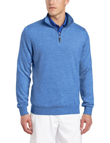 Fairway & Greene Men's Merino Long Sleeve 1/4 Zip Golf Wind Sweater, Heathered Blue, Medium