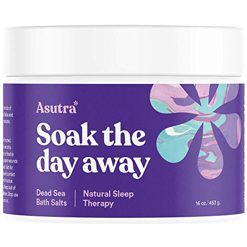 Relaxation Therapy - Asutra, Natural Sleep Therapy, 100% Pure Dead Sea Bath Salts, Sweet Dreams, Insomnia Relief, Organic Lavender, Rosemary, Ylang Ylang Essential Oils, Rich in Healing Minerals, 16oz