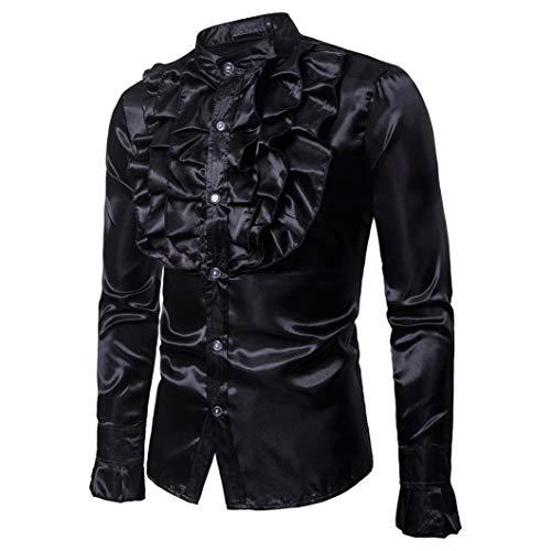 Sera Autunno Casual Praty Modo Di Uomini Solida Camicie Lunga Bhydry Top Collare Spiccano Nero Manica Camicetta gPBgAqxwn