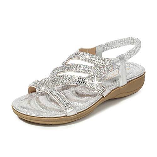 Toimothcn Bohemia Crystal Flat Sandals Women Casual Elastic Strap Peep Toe Shoes Beach Sandals (Silver2,US:5.5)